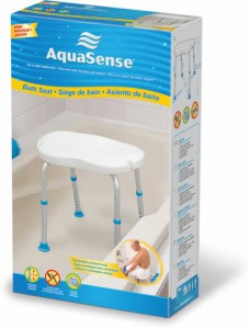 White Bath Seat without Backrest, with Ergonomic Shape, by AquaSense®, in retail box