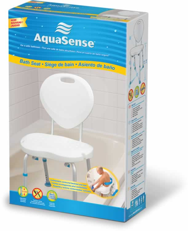 Bath Seats with Backrest, with Ergonomic Shape, by AquaSense ...
