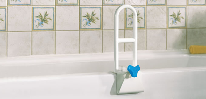 AquaSense® Steel Bath Safety Rail Installed on Bath