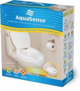 Sièges de toilette surélevés avec couvercle, par AquaSense®, dans la boîte pour la vente au détail