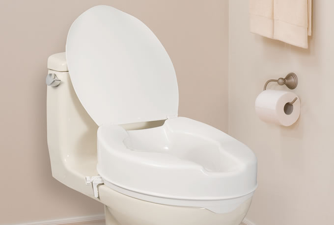 Elongated Raised Toilet Seat With Lid By AquaSense AquaSense