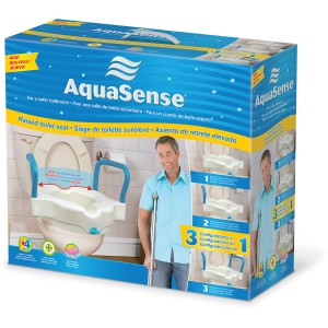 3-in-1 Raised Toilet Seat, by AquaSense®, retail box