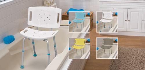 Asientos ajustables con respaldo para baño, por AquaSense ®