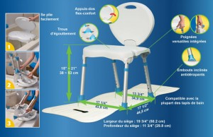 Siège de bain pliable, par AquaSense®, spécifications
