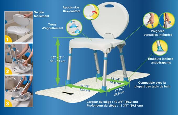 Si ge de bain pliable par aquasense aquasense - Siege de baignoire pivotant ajustable en largeur ...