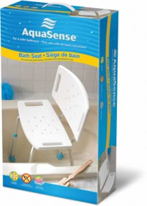 Adjustable Bath Seat with Back, White, by AquaSense®, in retail box
