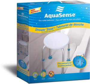Shower stool, by AquaSense®, in the box