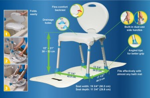 Folding Bath Seat, by AquaSense®, Specifications