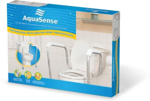 Adjustable toilet safety rails in retail box, by AquaSense®