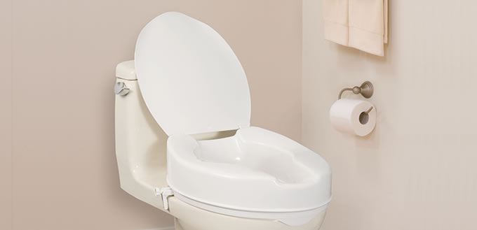 Elongated Raised Toilet Seat with Lid, by AquaSense®