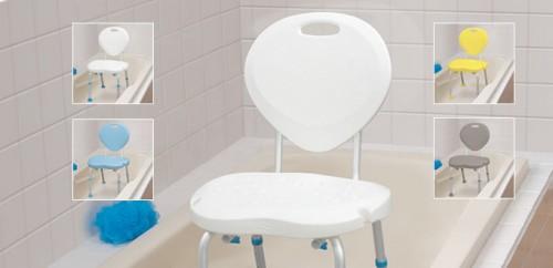 Sièges de bain ergonomiques avec dossier, par AquaSense®